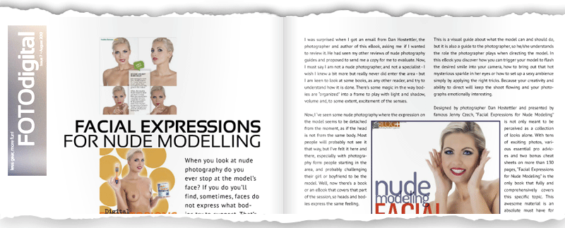 Featured in emagazine FOTODigital - Facial Expressions for Nude Modeling