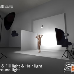 3D - 4 Point Lighting - Keylight, Fill Light, Hair Light & Background Light - Set and Photo Light Simulation - Perspective 1