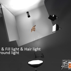 3D - 4 Point Lighting - Keylight, Fill Light, Hair Light & Background Light - Set and Photo Light Simulation - Perspective 2