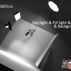 3D - 4 Point Lighting - Keylight, Fill Light, Hair Light & Background Light - Set and Photo Light Simulation - Perspective 3
