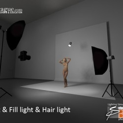3D - 4 Point Lighting - Keylight, Fill Light & Hair Light - Set and Photo Light Simulation - Perspective 1