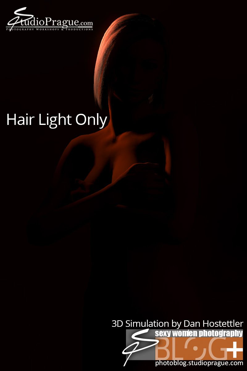 3D Light Simulation 3 - Glamour Lighting Tutorial - Hair Light with Standard Reflecor and Gel Only