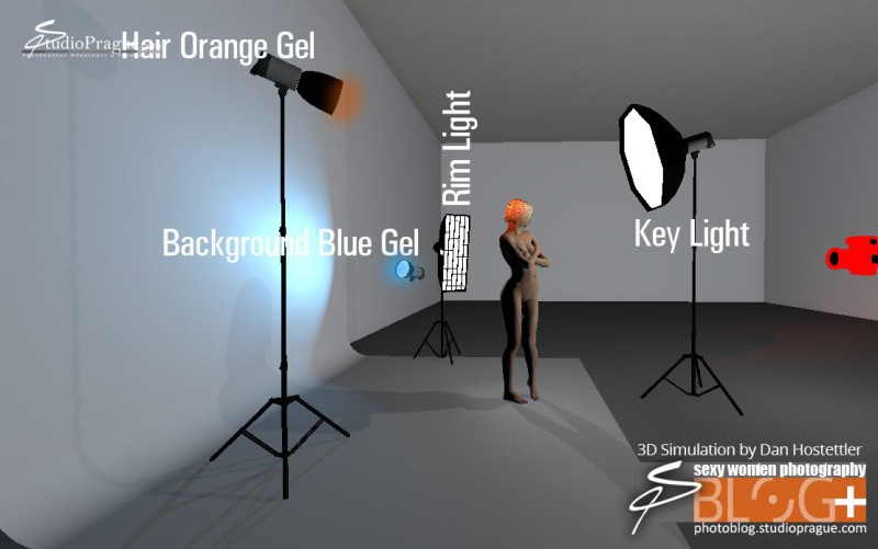 3D Scheme Glamour Lighting Tutorial - Setup view from side 2
