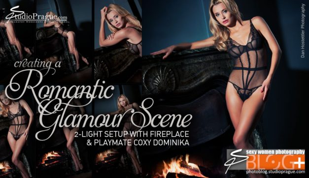 Romantic Glamour Scene: 2-Light Setup with Fireplace