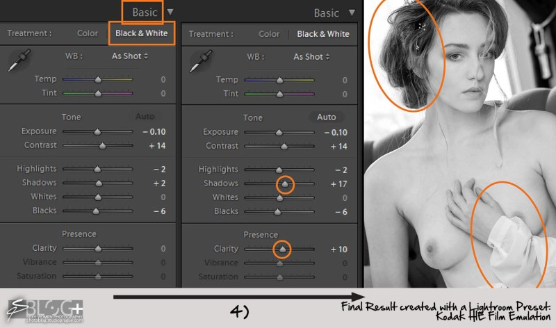10 - 3 - Lightroom B&W Conversion Steps - Sexy Romantic Look - with Kodak HIE In - B&W Photography Digital