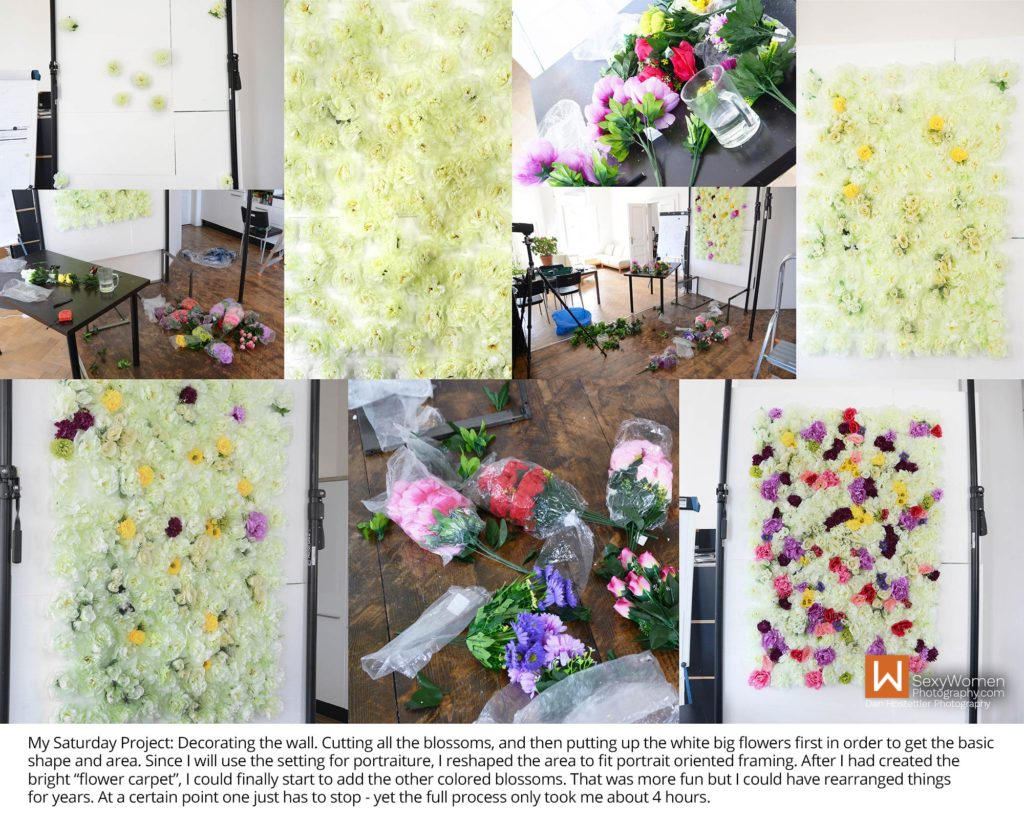 3 - Decorating The Backdrop - Portrait Nudes - How To Make A Flower Wall For Photo Backdrop